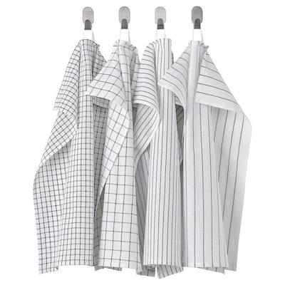 RINNIG Theedoek, wit/donkergrijs/met een patroon, 45x60 cm