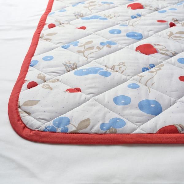 RÖDHAKE Gewatteerde deken, konijnen-/bosbessenpatroon/wit/rood, 96x96 cm