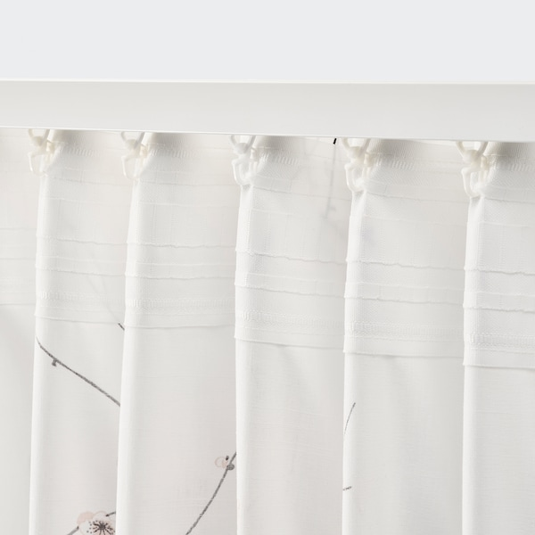 RÖDLÖNN Gordijnen, 1 paar, wit/bloem, 145x300 cm