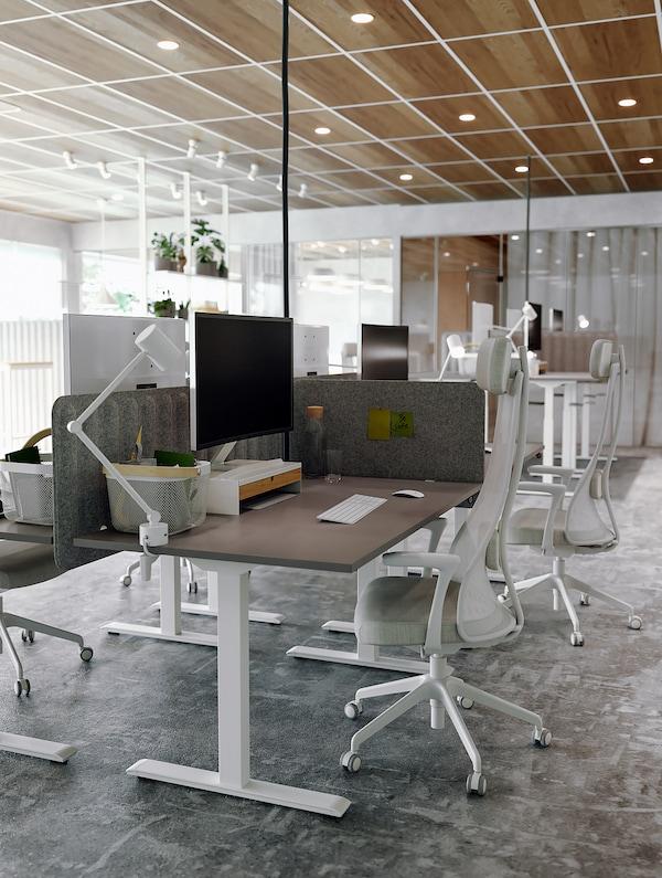 RODULF Bureau zit/sta, grijs/wit, 140x80 cm