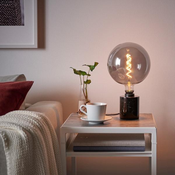 Rollsbo Led Lamp E27 200 Lumen Dimbaar Globe Grijs Helder Glas 200 Mm Ikea
