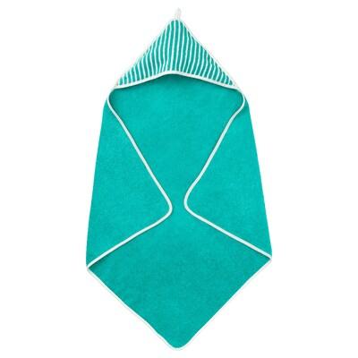 RÖRANDE Handdoek met capuchon, gestreept/groen, 80x80 cm