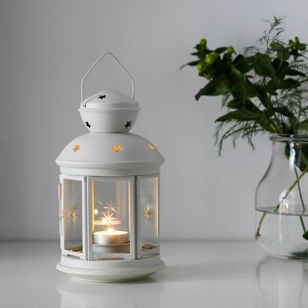 ROTERA Lantaarn voor theelichtje, binnen/buiten wit, 21 cm