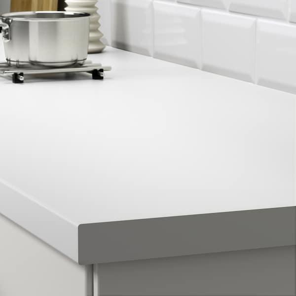 SÄLJAN Werkblad, wit/laminaat, 246x3.8 cm