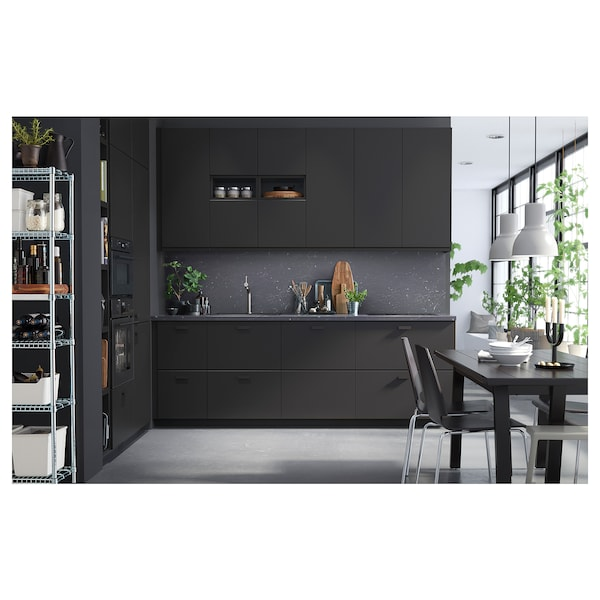 SÄLJAN Werkblad, zwart marmerpatroon/laminaat, 186x3.8 cm