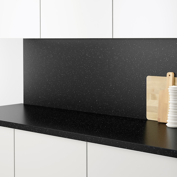 SÄLJAN Werkblad, zwart mineraalpatroon/laminaat, 186x3.8 cm