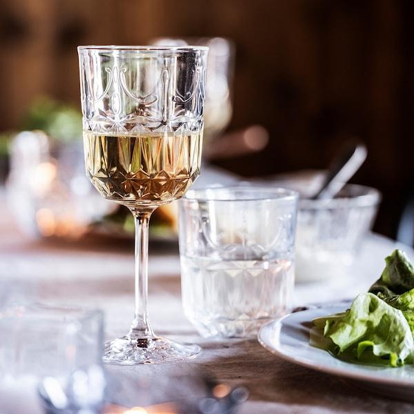 SÄLLSKAPLIG Wijnglas, helder glas/met een patroon, 27 cl