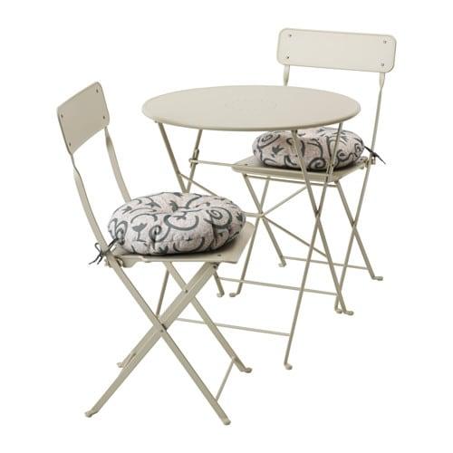 Saltholmen tafel 2 klapstoelen buiten saltholmen beige for Sedie in ferro battuto ikea