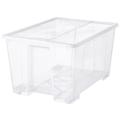 SAMLA Bak met deksel, transparant, 79x57x43 cm/130 l