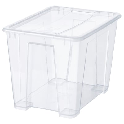 SAMLA Bak met deksel, transparant, 39x28x28 cm/22 l