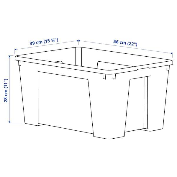 SAMLA Bak, transparant, 56x39x28 cm/45 l