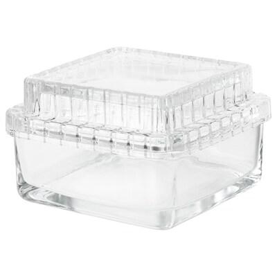 SAMMANHANG Pot met deksel, helder glas, 13x13x8 cm