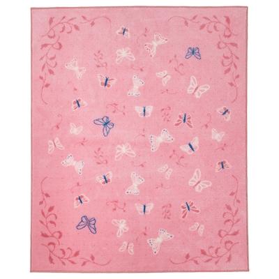 SÅNGLÄRKA Vloerkleed, laagpolig, vlinder/roze, 133x160 cm