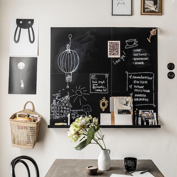 SÄVSTA Memobord, zwart, 50x70 cm