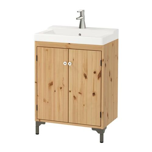 Goedkope Badkamer Ideeen ~  T?LLEVIKEN Kast voor wastafel 2 deuren  lichtbruin  IKEA