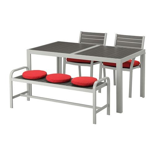 Zeer SJÄLLAND Tafel+2 stoelen + bank, buiten - Själland donkergrijs &FU82