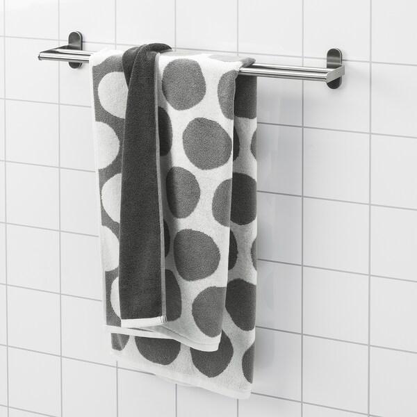 SJÖVALLA Badhanddoek, antraciet/wit, 70x140 cm