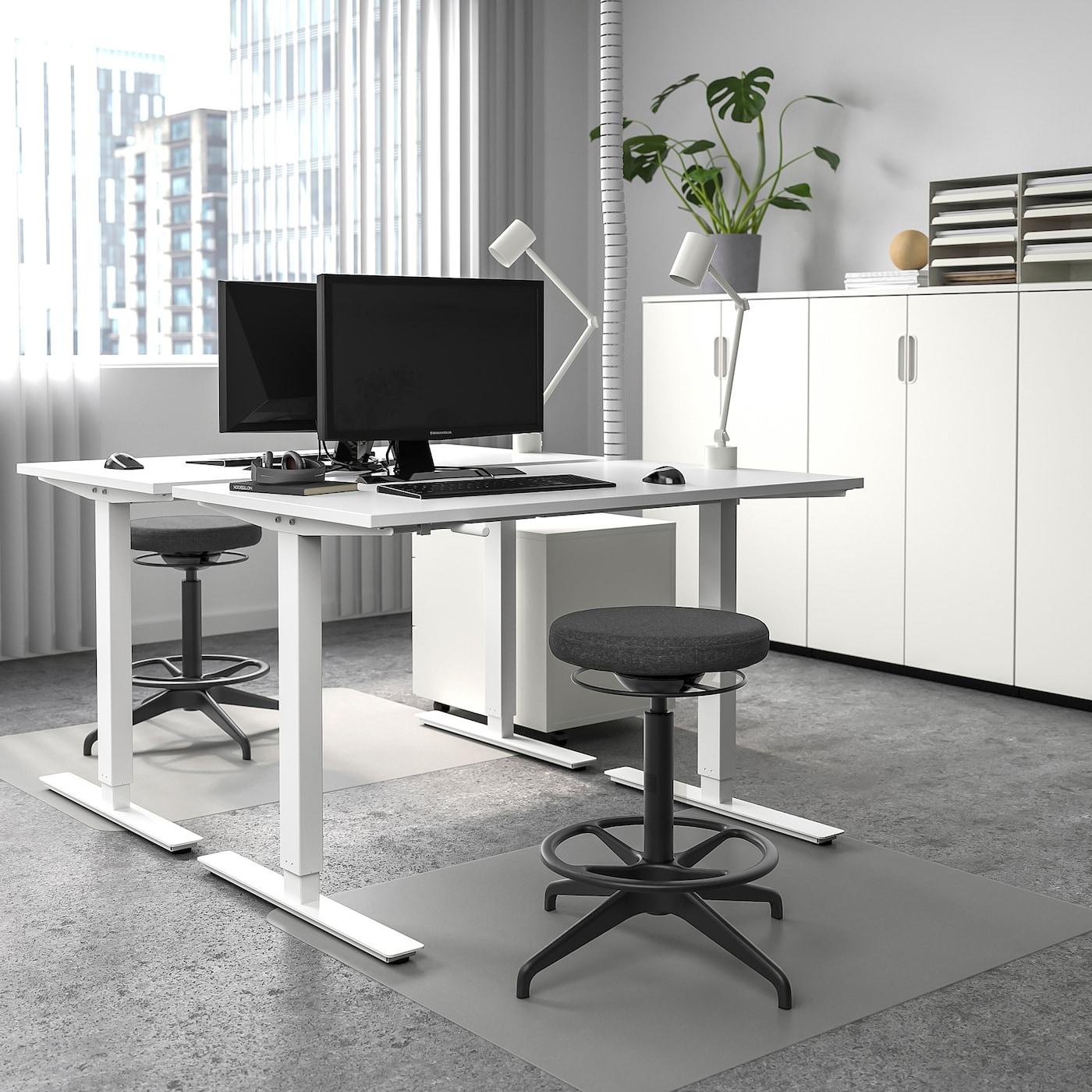 SKARSTA Bureau zit/sta, wit, 120x70 cm