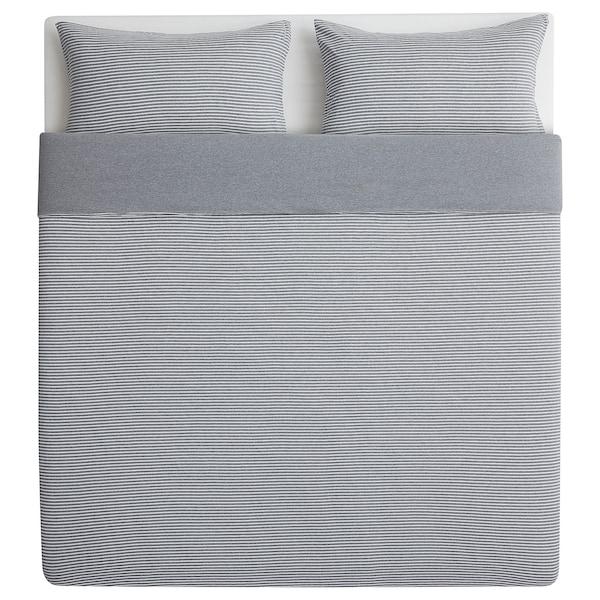 SKENHASSEL Dekbedovertrek en 2 kussenslopen, grijs, 240x220/60x70 cm