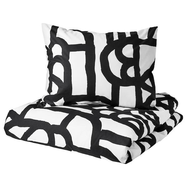 SKUGGBRÄCKA Dekbedovertrek met 2 slopen, wit/zwart, 240x220/60x70 cm