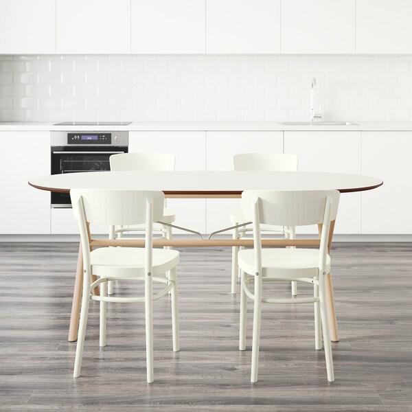 SLÄHULT/DALSHULT / IDOLF tafel en 4 stoelen berken/wit 185 cm 90 cm 73 cm