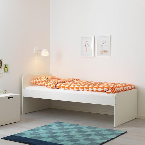 SLÄKT bedframe wit 206 cm 96 cm 100 kg 200 cm 90 cm