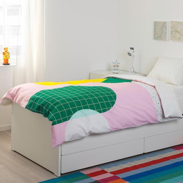 SLÄKT bedframe met onderbed en opberger wit 100 kg 206 cm 96 cm 90 cm 57 cm 56 cm 78 cm 193 cm 200 cm 90 cm