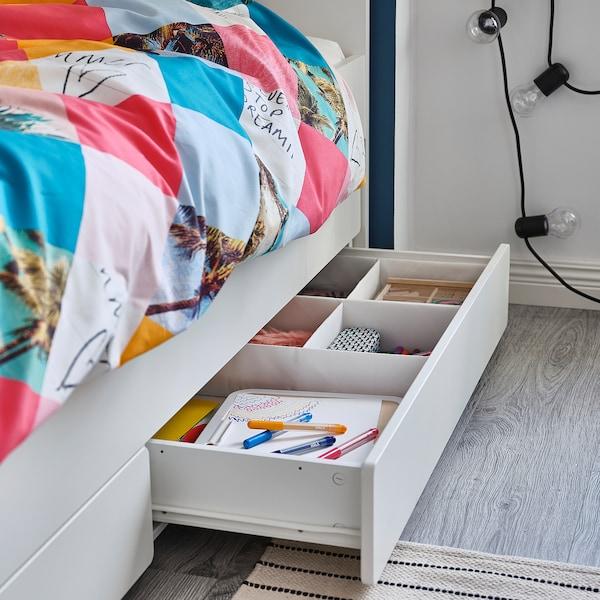 SLÄKT Bedframe met onderbed en opberger, wit, 90x200 cm