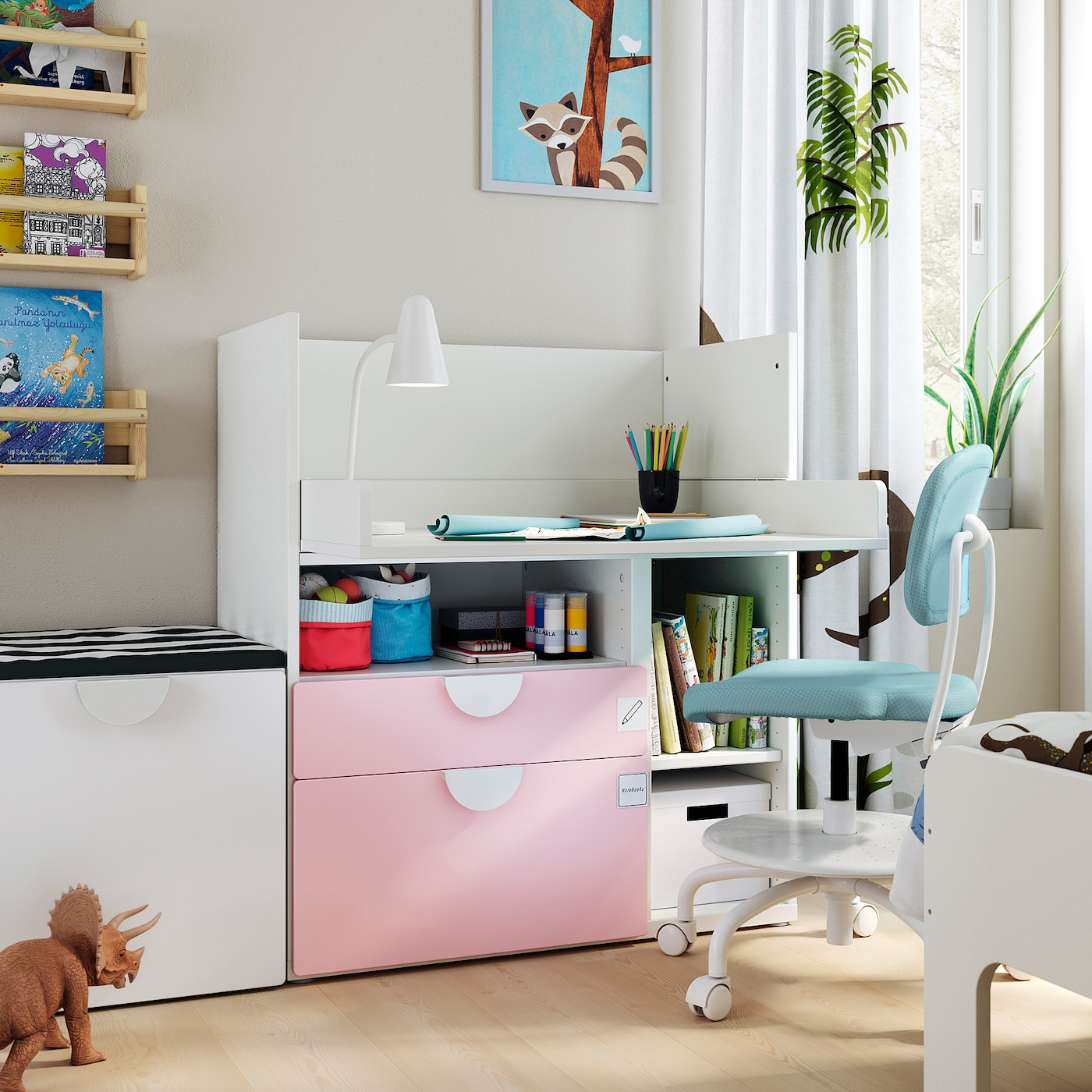 SMÅSTAD Bureau, wit bleekroze/met 2 lades, 90x79x100 cm