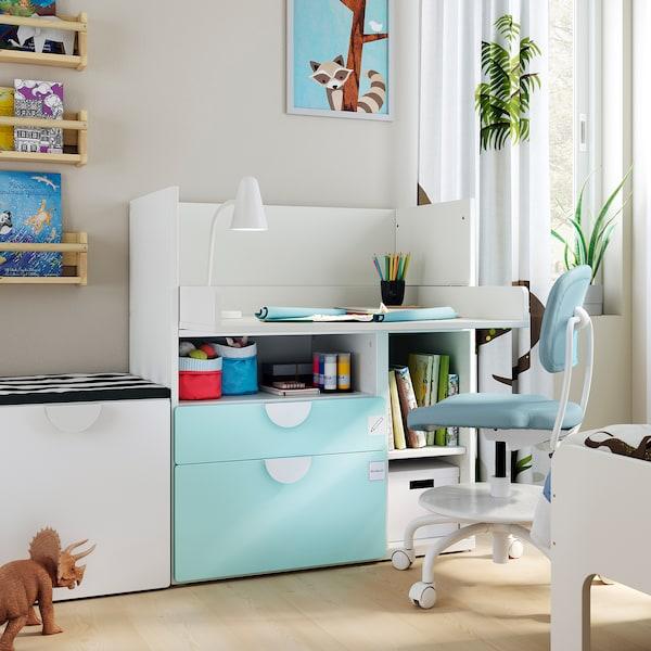 SMÅSTAD Bureau, wit bleekturkoois/met 2 lades, 90x79x100 cm