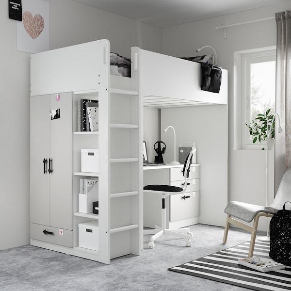SMÅSTAD Hoogslaper, wit grijs/met bureau met 4 lades, 90x200 cm