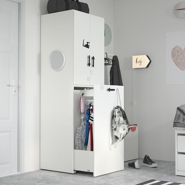 SMÅSTAD Kledingkast mt uittrekbaar gedeelte, wit bleekroze/met kledingroede, 60x57x196 cm