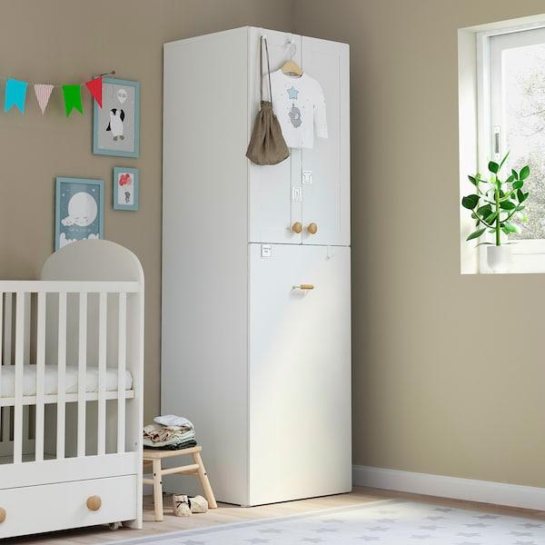 SMÅSTAD Kledingkast mt uittrekbaar gedeelte, wit met frame/met kledingroede, 60x57x196 cm