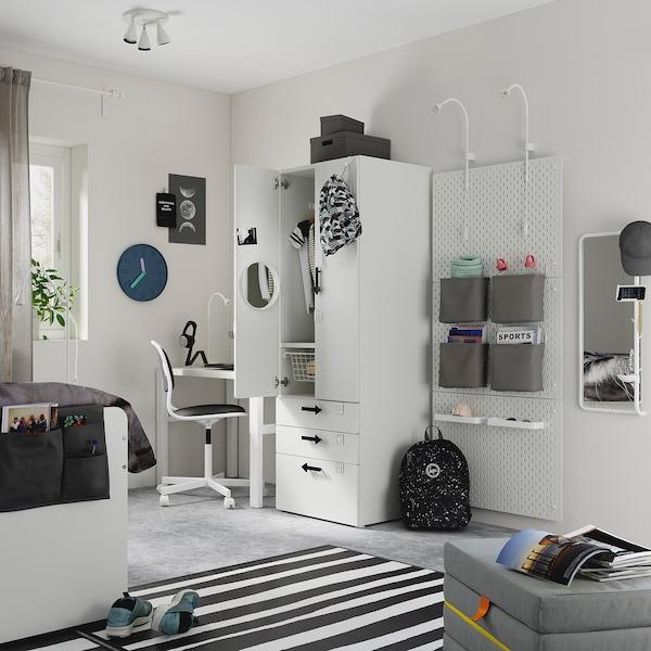 SMÅSTAD Kledingkast, wit wit/met 3 lades, 60x57x181 cm