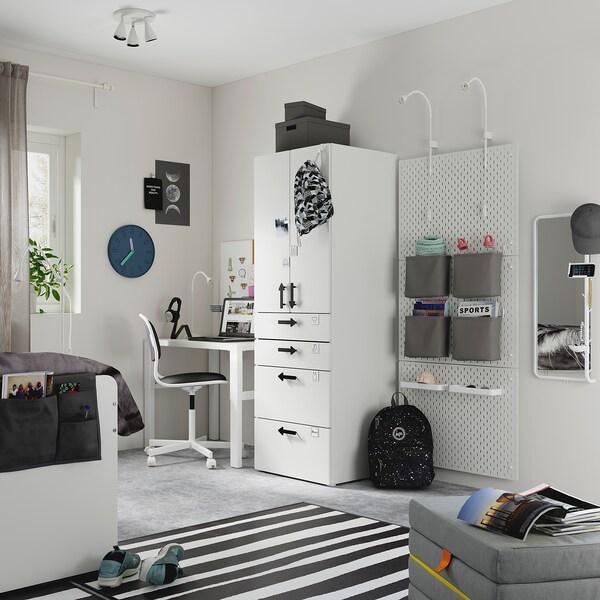 SMÅSTAD Kledingkast, wit wit/met 4 lades, 60x57x181 cm