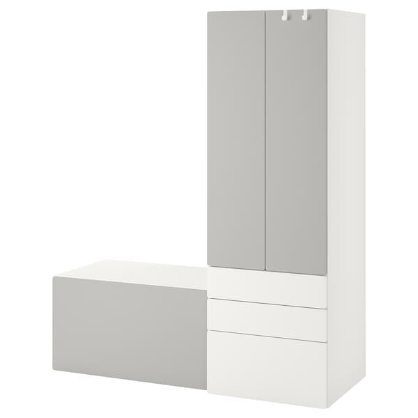 SMÅSTAD Opbergcombinatie, wit grijs/met bank, 150x57x181 cm