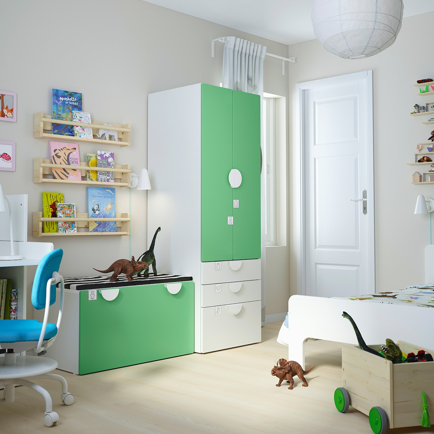SMÅSTAD Opbergcombinatie, wit groen/met bank, 150x57x181 cm