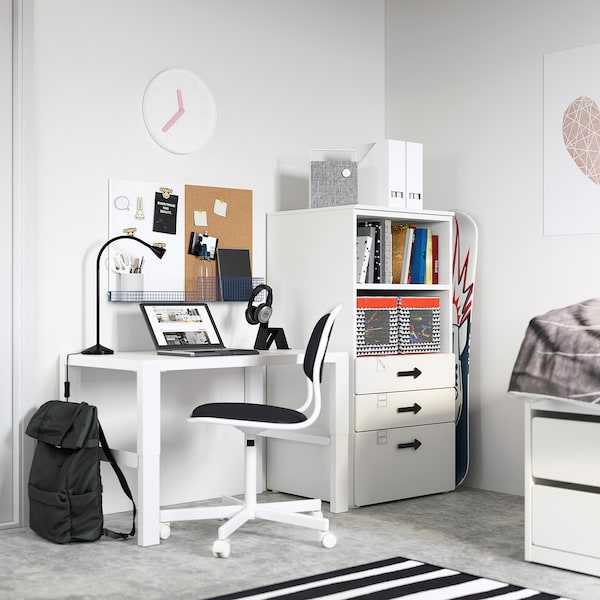 SMÅSTAD / PLATSA Boekenkast, wit wit/met 3 lades, 60x57x123 cm