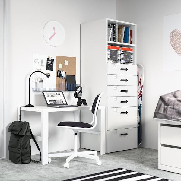 SMÅSTAD / PLATSA Boekenkast, wit wit/met 6 lades, 60x57x181 cm