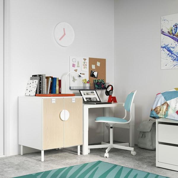 SMÅSTAD / PLATSA Kastje, wit berken/met 1 plank, 60x57x63 cm