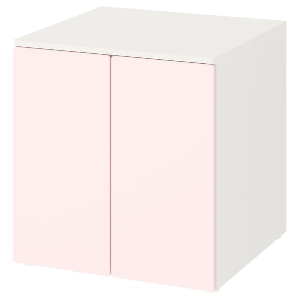 SMÅSTAD / PLATSA Kastje, wit bleekroze/met 1 plank, 60x57x63 cm