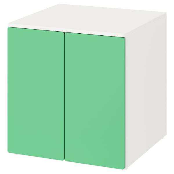 SMÅSTAD / PLATSA Kastje, wit groen/met 1 plank, 60x57x63 cm