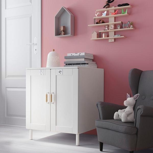 SMÅSTAD / PLATSA Kastje, wit met frame/met 1 plank, 60x57x63 cm