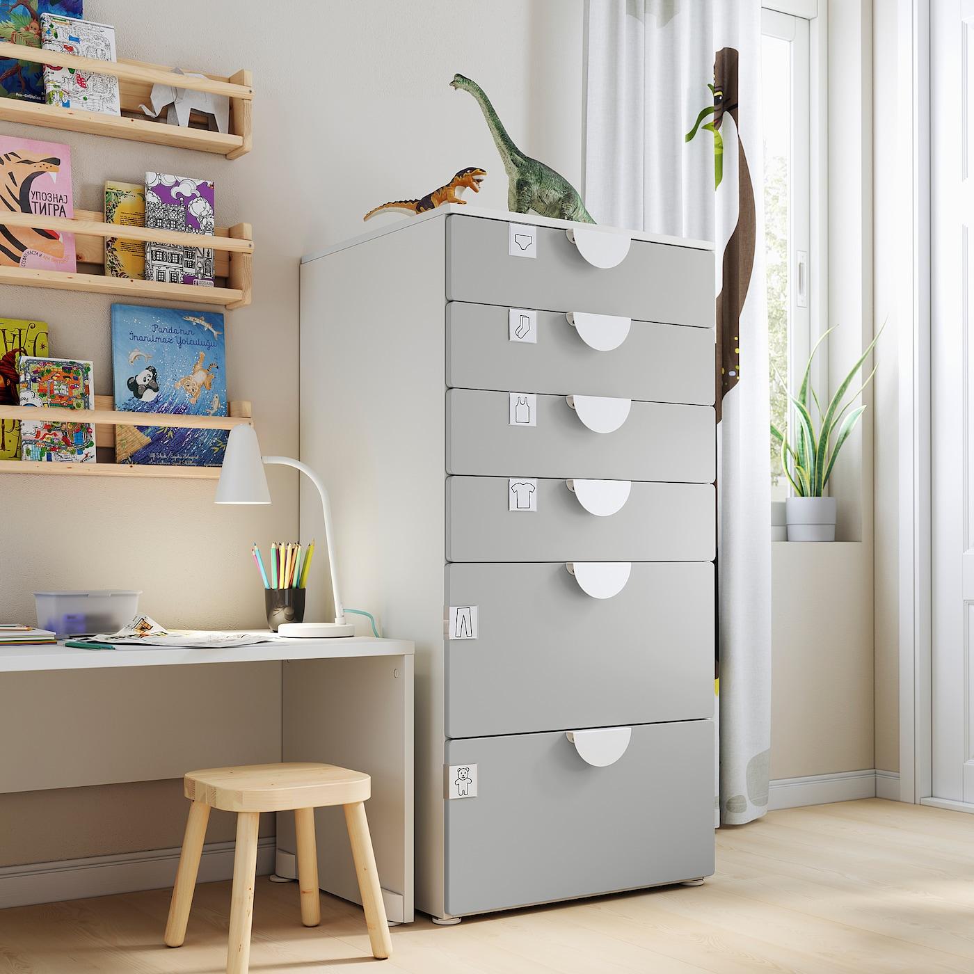SMÅSTAD / PLATSA Ladekast 6 lades, wit/grijs, 60x57x123 cm
