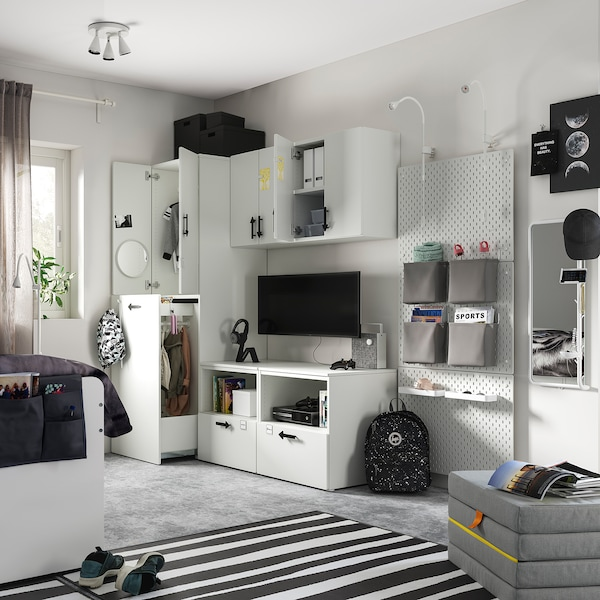SMÅSTAD / PLATSA Opbergcombinatie, wit bleekroze/uittrekbaar, 180x55x196 cm