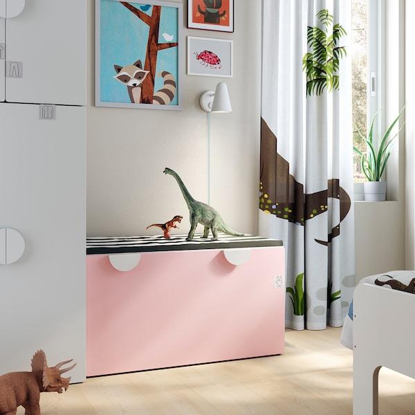 SMÅSTAD Speelgoedkist met bank, wit/bleekroze, 90x52x48 cm