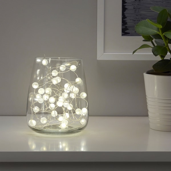 SNÖYRA led-lichtsnoer met 40 lampjes binnen/op batterijen zilverkleur 1 m 10 cm 0.1 W 4.9 m