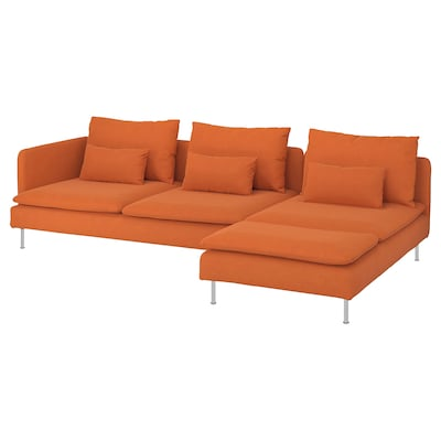 SÖDERHAMN 4-zitsbank, met chaise longue en open eind/Samsta oranje