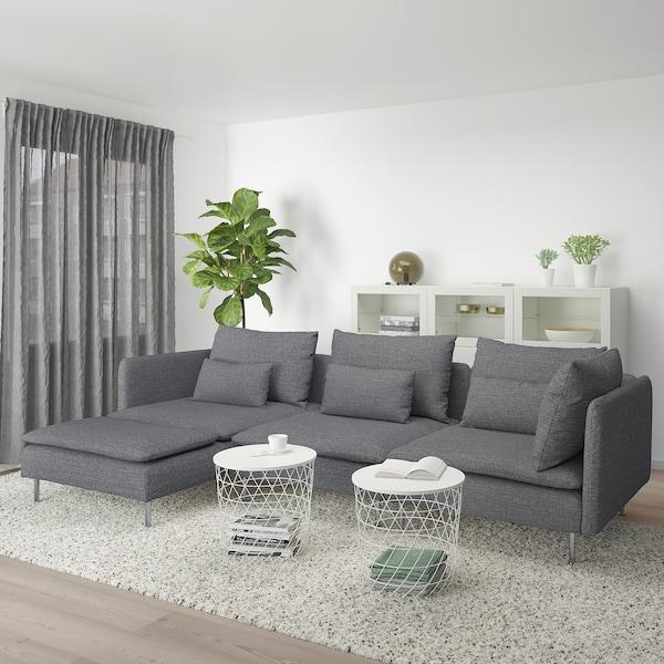 SÖDERHAMN 4-zitsbank, met chaise longue/Lejde grijs/zwart