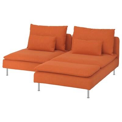SÖDERHAMN 2-zitsbank met chaise longue/Samsta oranje 83 cm 69 cm 151 cm 186 cm 99 cm 122 cm 14 cm 70 cm 39 cm